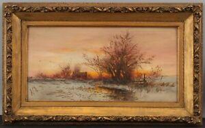 Antique DUBOIS HASBROUCK American Winter Sunset Landscape Watercolor Painting NR