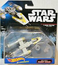 HOT WHEELS STAR WARS 2016 STARSHIPS W/ FLIGHT ROGUE Y-WING FIGHTER GOLD LEADER
