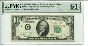FR 2016-F* Star 1963 $10 Federal Reserve Note PMG 64 EPQ Choice Uncirculated