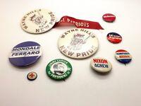 Lot of 9 1960-70s Vintage Political Pins ~McGovern Humphrey Muskie Agnew Nixon~