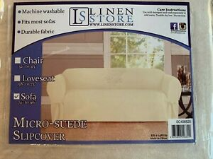 """Linen Store Micro suede Slipcover Furniture Cover, Beige, Sofa 74"""" to 96"""""""
