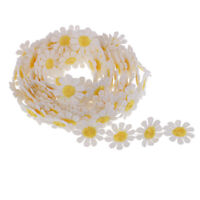 3 yds Daisy Flower Embroidered Lace Fabric Sewing Trims Costume Decorations