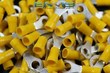 10-12 Gauge Vinyl Ring 1/4 Connector 25 Pk Yellow Crimp Terminal Awg Wire