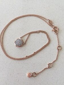 """LINKS OF LONDON Rose Gold Tone 17.5"""" NECKLACE w/ DIAMOND ROUND PAVE"""