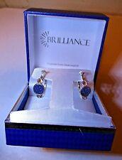 Brilliance Silver Hoop Pierced Earrings w/Blue Swarovski Crystal in Gift Box
