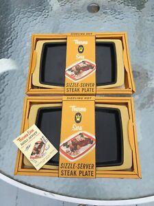 NOS 2 VTG Westbend Thermo Serv Sizzle-Servers Porcelain NIB w/ book harvest Gold