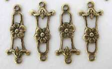 Antiqued Brass Ox Flower Filigree Connector Drop Link Charm 20mm