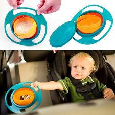 Non Spill Feeding Toddler Gyro Bowl 360º Rotating Baby Kids Avoid Food Spilling
