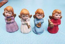 "vtg Christmas angels Rare set of 4 paper mache angel figurines Japan 3"""