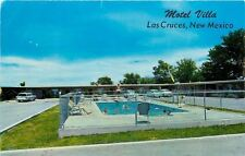 Las Cruces NM~Motel Villa~South Main~1950s Cars~Folks in Pool~Diving Board