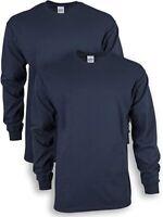 Gildan Men's Ultra Cotton Adult Long Sleeve T-Shirt, 2-Pack, Navy, Small