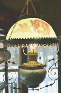 Price is for 1 Lamp Antique Electrified Oil Lamp Red Amberina Shade 2 Available