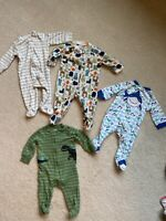 Carter's and Other Brands Baby Boy 6 Month Pajamas Lot Of 4 Fair Condition