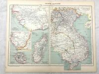 1894 Antique Map of French Empire Colony Colonies Congo Indo China 19th Century
