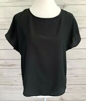 Separate Issue Top Womens Medium M Black Solid Short Sleeve Sheer Blouse Dressy