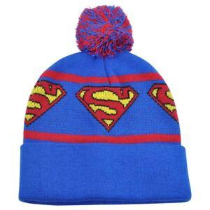 DC Comics Superman Man of Steel Repeat Logo Pom Pom Cuffed Beanie Knit Skully
