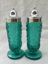 Salt & Pepper Shakers Set Green Depression Glass Grapevine Vintage - Never used.