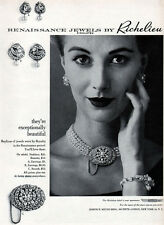 Richelieu Renaissance Jewels Necklace BROOCH Earrings PEARLS 1952 Print Ad