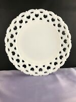 "VTG WESTMORELAND  8 1/2"" PLATE  ""FORGET ME NOT"" Pattern w/LACEY EDGE, MILK GLASS"