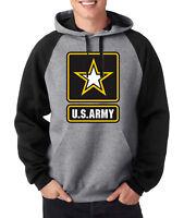 ARMY LOGO RAGLAN HOODIE Military Hooded Sweatshirt United States Usarmy Ranger