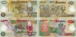 Zambia 2 Note Set: 500 & 1000 Kwacha (2009) - p43g, p44g Polymer Pair UNC