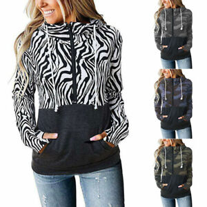 Animal Zebra Print Camo Sweatshirt Hoodies Jumper Sweater Zipper Pullover Tops