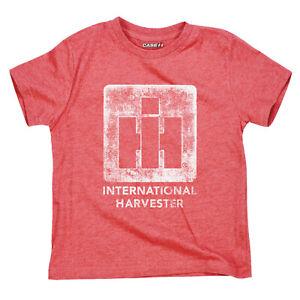 International Harvester IH Logo Stencil Youth Heather Red Short Sleeve Tee