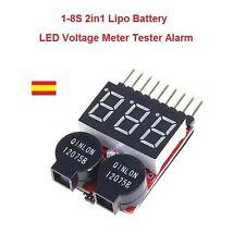 Probador Tester Medidor Baterias RC Lipo Li-ion LiMn Li-Fe 1S-8 2 en 1 Alarma