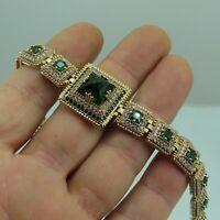 Turkish Handmade Jewelry 925 Sterling Silver Emerald Stone Women Bracelet