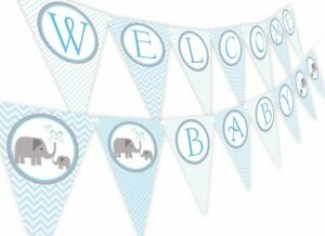 Welcome Baby Shower Banner Decorations For Boy Elephant Theme Blue and Grey New