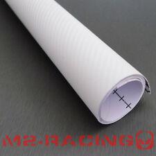 2'x5' Feet 3D WHITE Carbon Fiber Texture Vinyl Wrap Sticker Decal Film Sheet