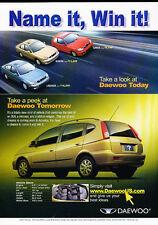 2001 Daewoo Leganza Lanos - Name-it new car -  Vintage Advertisement Ad A37-B