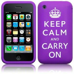 Keep Calm & Carry On Rubber Soft Skin Case Cover Purple for iPhone 3 iPhone 3GS