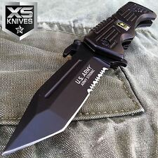 "9"" US ARMY Tactical Black Tanto HALF SERRATED Spring Assisted Folding Knife"