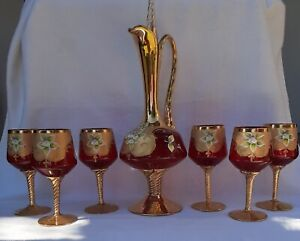 MURANO VENETIAN RUBY RED DECANTER WITH 6 WINE GLASSES HAND BLOWN /  PAINTED 24KT