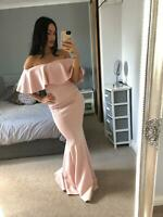 Quiz Blush  Bardot Ruffle Frill Dress Ball Gown Long Fishtail Maxi Evening Prom❤