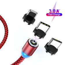 360° Nylon Braided LED Magnetic Charger iOS Type C Micro USB Charging Cable Cord