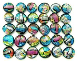 MULTI COLORS Lot 30 pcs gorgeous DICHROIC earring bracelet FUSED GLASS (B25) cab