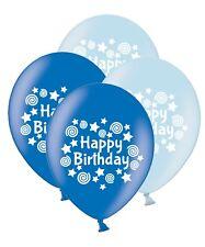 "Happy Birthday Stars & Swirls 12"" Printed Latex Mix Blue Asst Balloons 25 ct"
