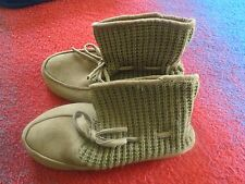 Womens CHETNUT BROWN High Top Bootie MOCK SUEDE LOWER Knit Upper M 9-10