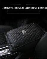 Crown Bling Diamond Rhinestone Black Leather Armrest Box Rail Pad Mat