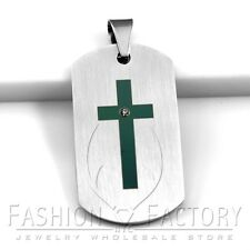 Stainless Steel Matte Silver Military Dog Tag w Black Cross Engraved Pendant 12S