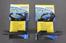 SET OF 2 BLACK ADJUSTABLE FOLDING CUP DRINK HOLDER FOR BOAT CAR RV W/HARDWARE