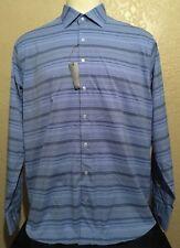 New Peter Millar Summer Comfort Men's XL Boo Performance Blue Striped L/S Shirt