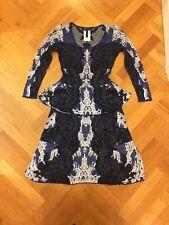 Bcbg knit blue and white skirt and peplum top set