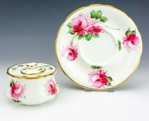 Vintage Hammersley China - Hand Painted Rose Decorated Inkwell Ink Stand