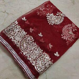 Antique Indian Bridal Wedding Dupatta Paisley Scarf Hand Emb Tissue Veil Stole L