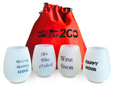 4 Wine Glasses Unbreakable W/Bag-Food Grade Silicone Funny and Durable