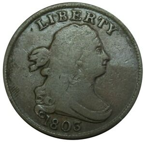1803 UNITED STATES DRAPED BUST HALF CENT COPPER COIN VERY GOOD+ CONDITION