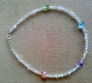 Clear Crystal Crystals 2x Anklet Ankle Bracelet made with Swarovski Butterflies